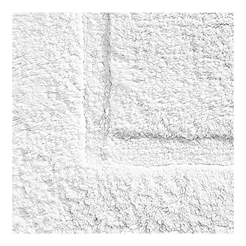 mDesign Soft 100% Cotton Luxury Hotel-Style Rectangular Spa Mat Rug, Plush Water Absorbent, Decorative Border - for Bathroom Vanity, Bathtub/Shower, Machine Washable - Pack of 2, White by mDesign (Image #3)