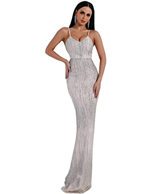 f88918da Miss ord Women Sexy V Neck Off Shoulder Backless Glitter Halter Dresses  Female Elegant Party Maxi Dress at Amazon Women's Clothing store: