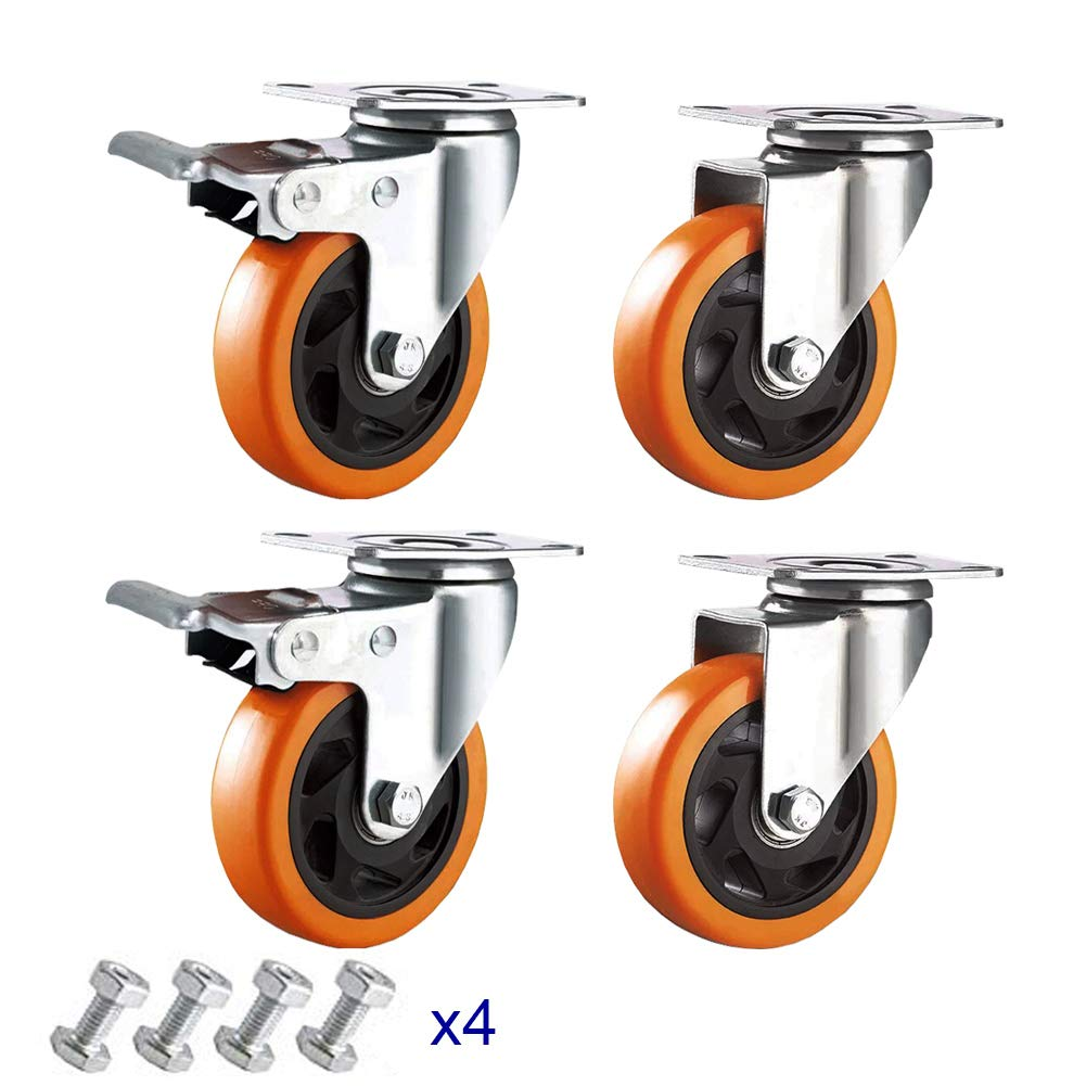 4'' Caster Wheels Anyke Premium Rubber Wheels Polyurethane Swivel Plate Casters Heavy Duty 1300LBS Set of 4(Orange 2 Brakes 2 Without)