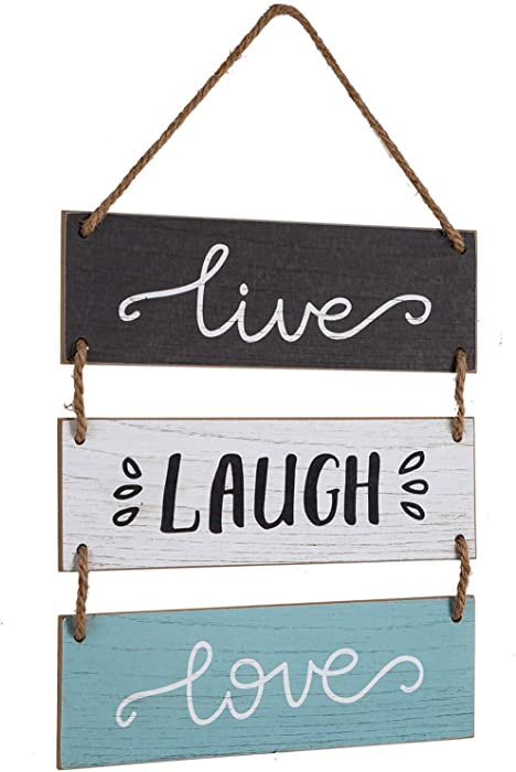 """Yankario Rustic Home Wall Decor Sign for Living Room Bedroom Bathroom Kitchen Office or more - Farmhouse Wall Hanging Decoration Wooden Sign """"Live Laugh Love"""""""