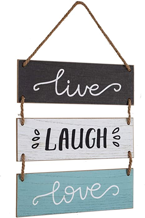 Amazon Com Yankario Rustic Home Wall Decor Sign For Living Room Bedroom Bathroom Kitchen Office Or More Farmhouse Wall Hanging Decoration Wooden Sign Live Laugh Love Everything Else