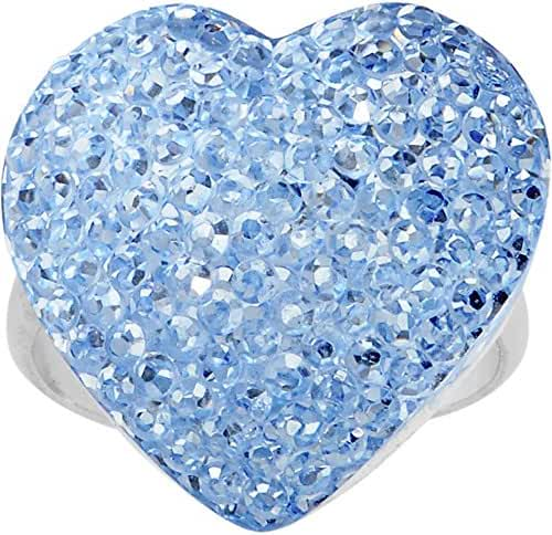 Light Blue Sparkler Heart Adjustable Ring