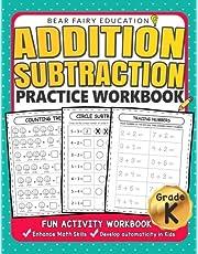 Addition Subtraction Practice Workbook .: Kindergarten books, Activity Workbook for Kids, Kindergarten Math Skills