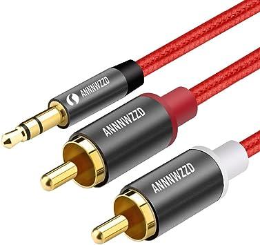 Cable Audio RCA,Jack 3,5mm Macho a 2RCA Macho Nylon Trenzado Estéreo Cable,para el Smartphone, Sistema HiFi,iPod, Smart TV, Reproductor MP3, Tablet, PC al Amplificador, Sistema Estéreo y etc (1M): Amazon.es: Electrónica