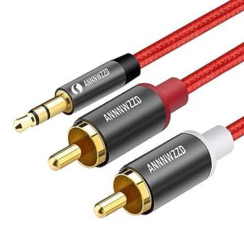 1m AUX Kabel 3,5mm Audio Stereo Klinke-Stecker Jack auf 2x Cinch RCA Audiokabel