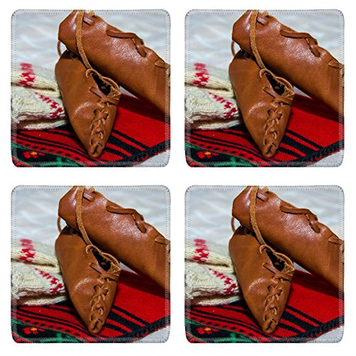 Liili Square Coasters Romanian traditional costume with peasant s sandal (National Romanian Costume)