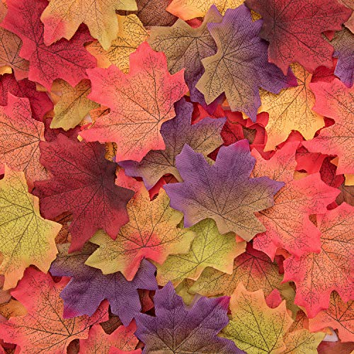 Whaline 300 Pieces Artificial Autumn Maple Leaves Mixed Fall Colored Leaf for Weddings, Events, Art Scrapbooking and Decorations (Purple)