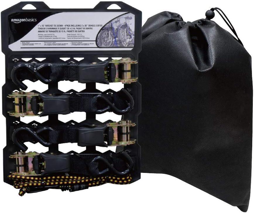 AmazonBasics 15-Feet Ratchet Tie Down Straps, 500 Lbs Load Cap, 1500 Lb Break Strength - Includes 2 Bungee Cords, Black, 4-Pack