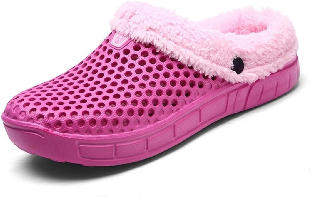 QISHENG Men's Women Mules Clogs Slip On Garden Shoes Fur Lined Slides Flip Flops Warm Winter Slipper
