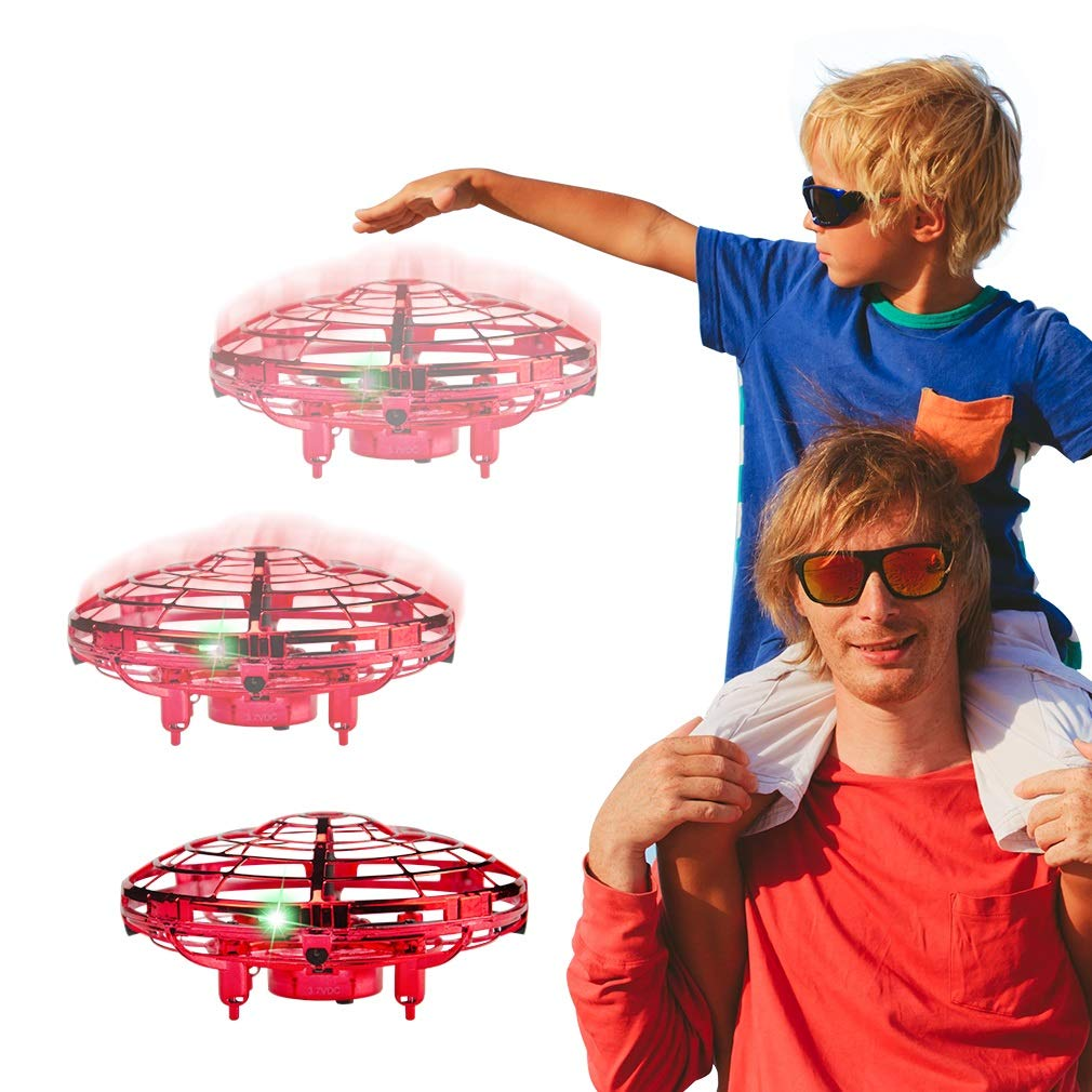 WEW Flying Toy, Easy Indoor Mini Drone Helicopter, 720°Infrared Induction 360° Rotating Hand Controlled Drone for Kids Adults Teenager Home Office- Red