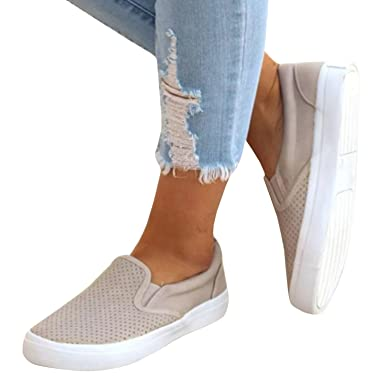 c43fd3b10983d Pxmoda Womens Fashion Pinhole Cushioned Sneakers Casual Slip-on Loafers  Flat Shoes