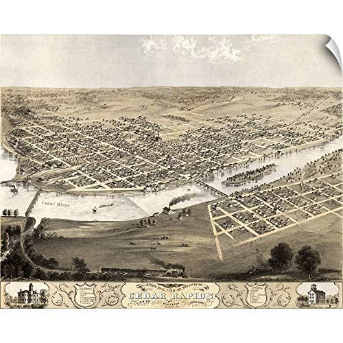 CANVAS ON DEMAND Vintage Birds Eye View Map of Cedar Rapids and Kingston, Iowa Wall Peel Art Print, 14