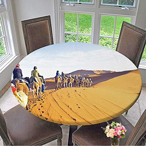 Mikihome Picnic Circle Table Cloths Camel Caravan Going Through The Sand Dunes in The Sahara for Family Dinners or Gatherings 40