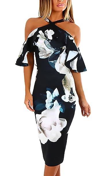 Vestidos De Fiesta Mujer hasta La Rodilla Vintage Fashion Impresión Floral Vestidos Coctel Elegantes Hombros Descubiertos
