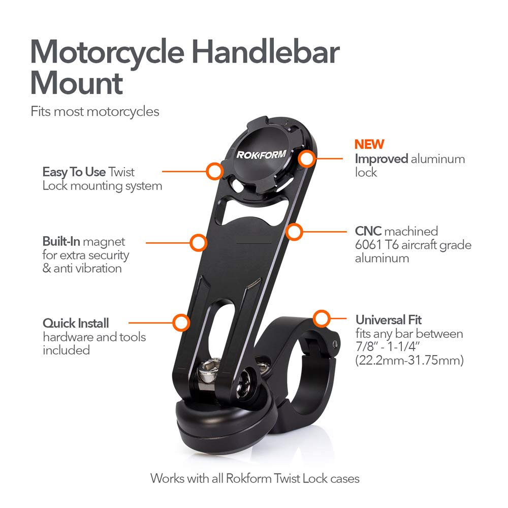 Rokform Pro Series Motorcycle/Bicycle/Quad Handlebar Phone Mount, Aircraft Aluminum, Twist Lock and Magnetic Security w/Rokform Lanyard for Extra Protection - Black by Rokform (Image #2)