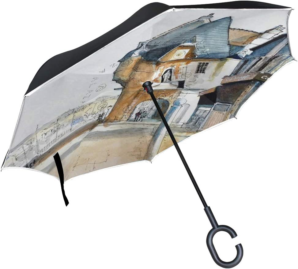 Honfleur Lower Normandy France Watercolor Painting City Houses Street Double Layer Inverted Umbrella with C-Shaped Handle Anti-UV Waterproof Windproof Straight Umbrella for Car Rain Outdoor Use