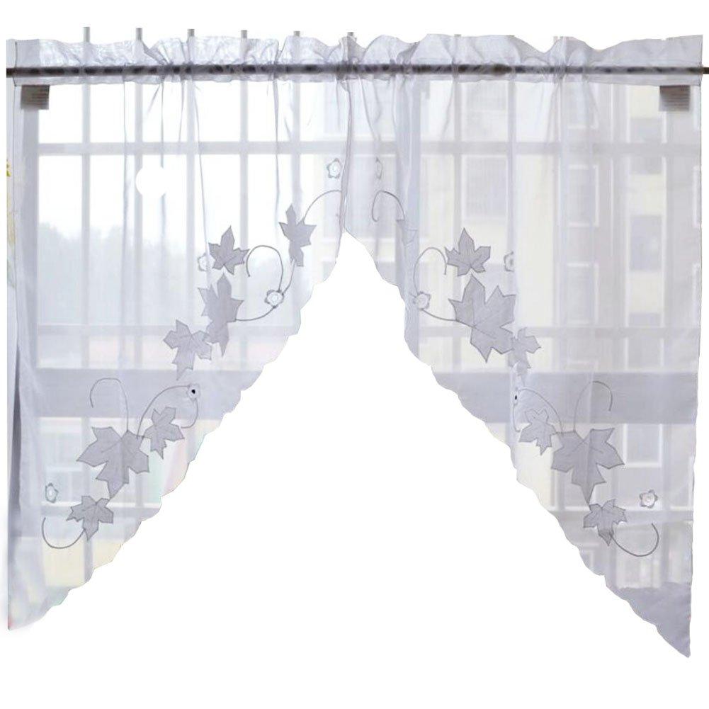 Süße Blatt Blume gestickte Vorhang Küche Vorhang Kaffee Screen-Ein ...