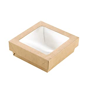 Small Kray Box with Window Lid (Case of 250), PacknWood - Brown Recyclable To Go Food Containers (12 oz, 3.9