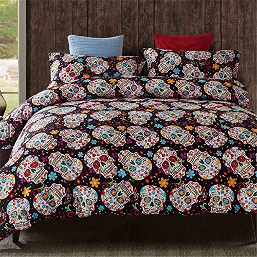 Sugar Skull Duvet Cover King 3D Gothic and Floral Pattern Printed Bedding Duvet Cover Set 3Pcs Hypoallergenic Soft Microfiber Skeleton Duvet Cover with Zipper Closure