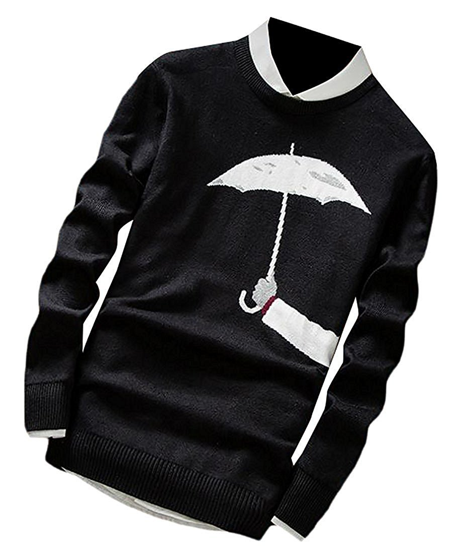 Leng Fashion Mens Casual Print Long Sleeve Soft Slim Fit Pullover Sweaters BlackLarge