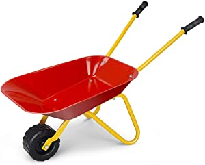 Nightcore Kids Wheelbarrow, Metal Construction Toys Kart, Red