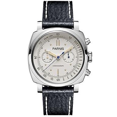 Parnis Pilot Seriers Luminous Mens Leather Watchband Military Sport Chronograph Quartz Watch Wristwatch – White Case White Dial