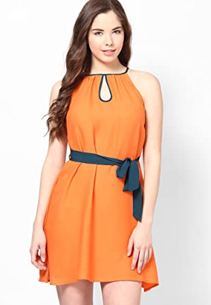 34368ac3cf7c TOPS AND TUNICS ORANGE SKATER DRESS  Amazon.in  Clothing   Accessories
