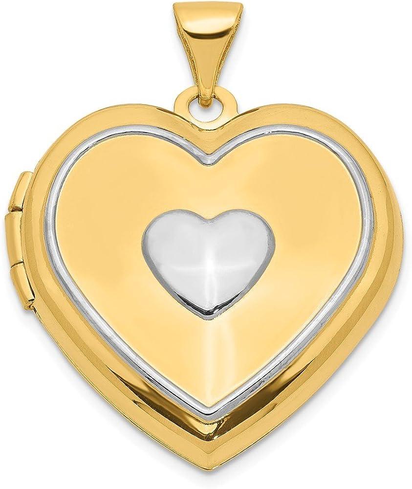 14k w//Rhodium CZ #1 Daughter Heart Pendant