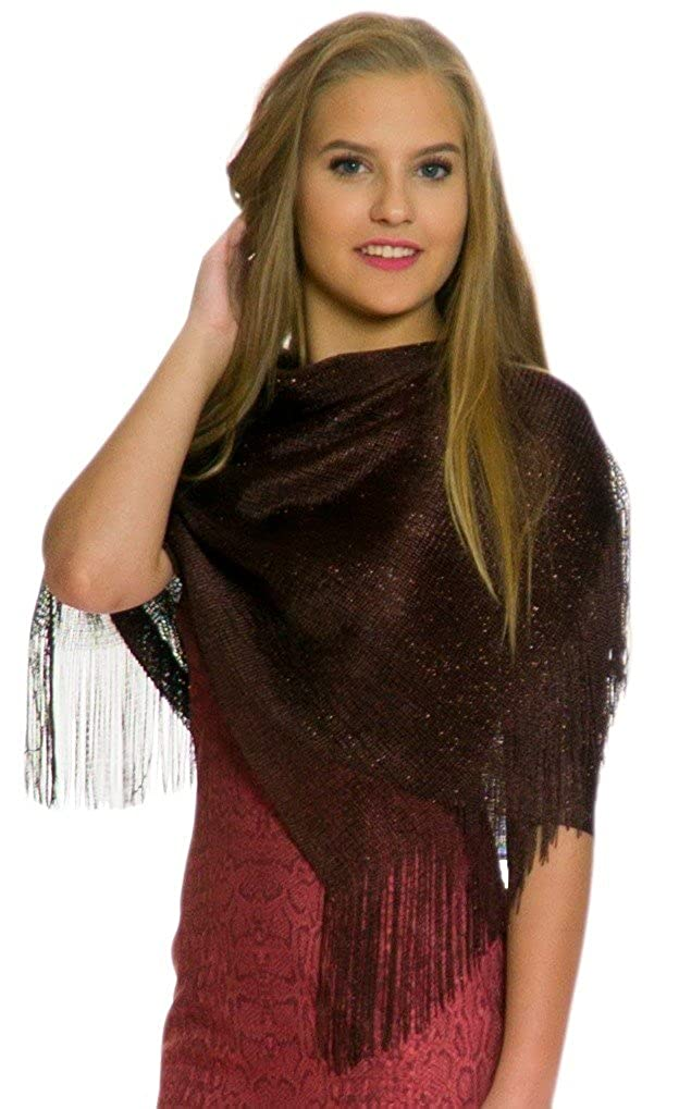 180b3d7b772cb Shawls and Wraps for Evening Dresses, Wedding Shawl Wrap Fringes Scarf for  Women Brown Petal Rose at Amazon Women's Clothing store: