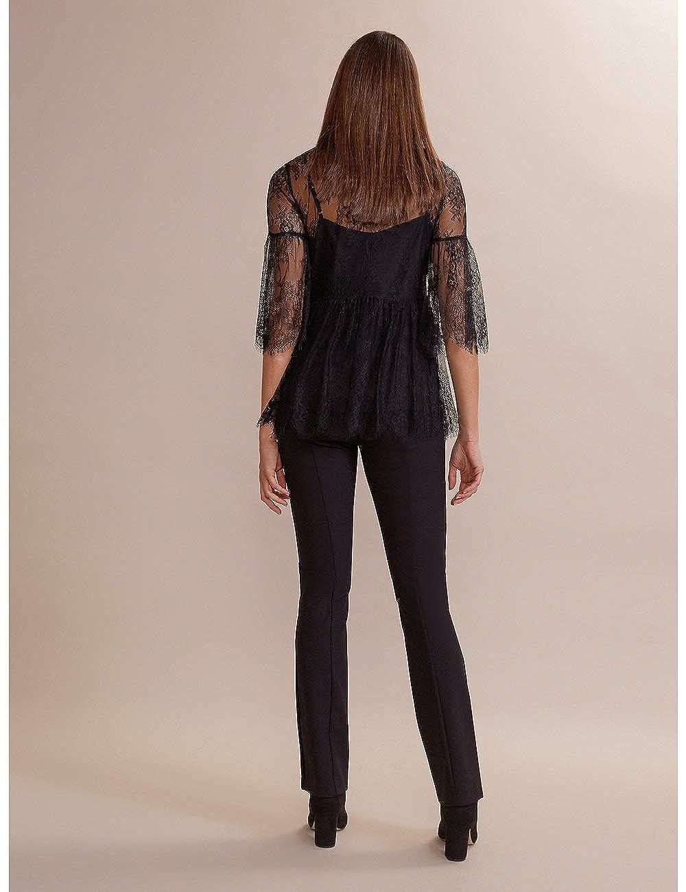 Italian Size Pantaloni Regular con Banda in Velluto Oltre