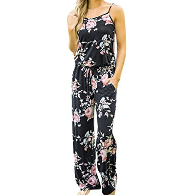 5a0fb2f9438 Amazon.com  Womens Sexy Cami Floral Romper Jumpsuit Long Pants Sleeveless  Playsuit Jumpers Teen Girls for Summer  Clothing