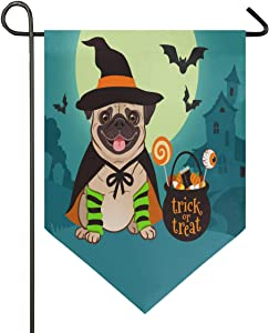 Oarencol Halloween Pug Dog Witch with Cauldron Candy Trick Or Treat Garden Flag Double Sided Home Yard Decor Banner Outdoor 12.5 x 18 Inch