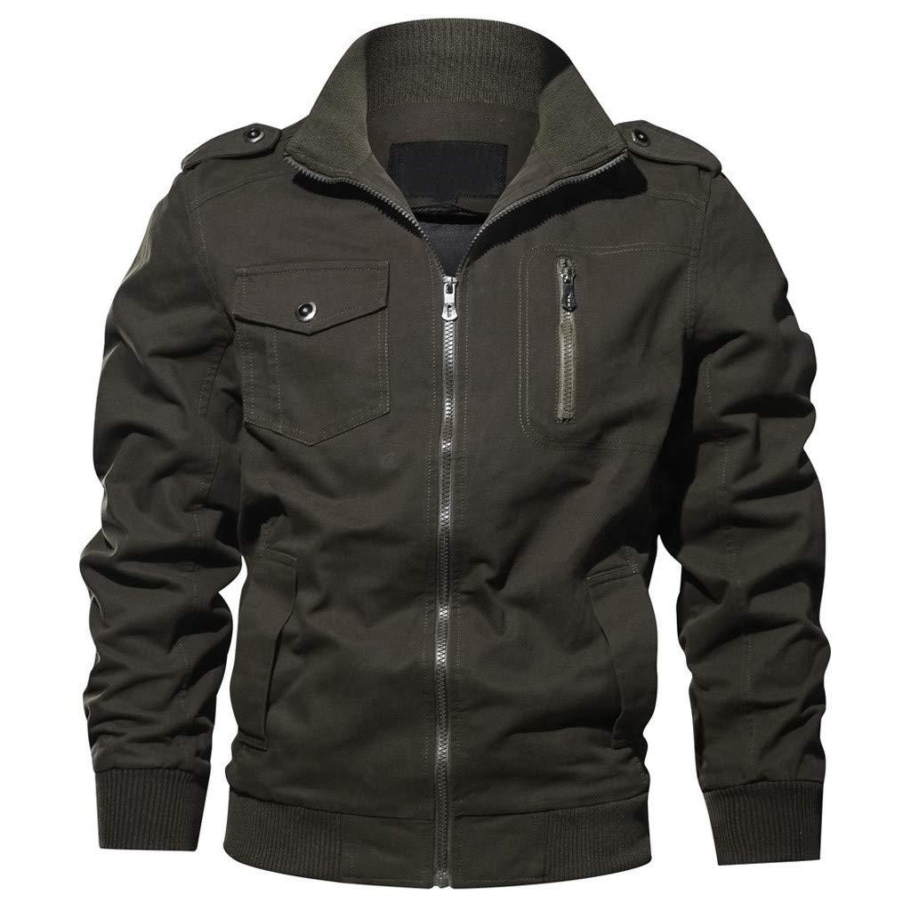 Men's Long Sleeve Jacket Washed Solid Zipper Pocket Large Size Jacket Autumn Winter Clothing Tooling Breathable Coat by SSDXY
