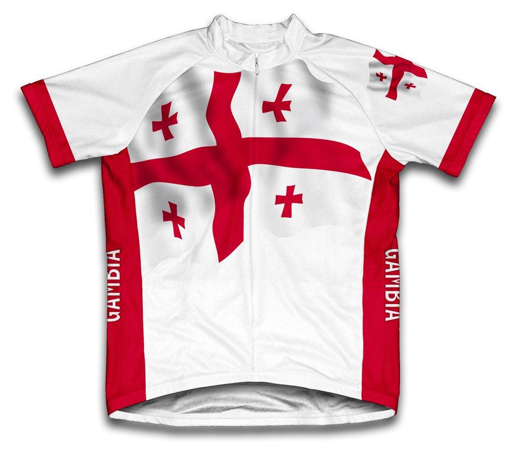 Géorgie Drapeau à manches courtes Maillot de cyclisme pour femme Large Blanc - blanc   B00EDKTN1U