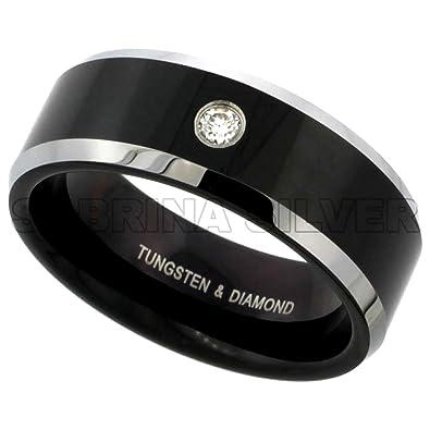 8mm Black Tungsten 900 Diamond Wedding Ring 007 cttw Twotone