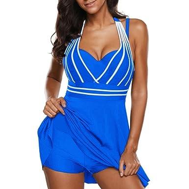 iBaste Damen Bikini Tankini mit Shorts Damen Große Größen Bikini Bademode  Bikini-Set Badeanzug Swimsuit Zweiteilig  Amazon.de  Bekleidung 13ec7773aa