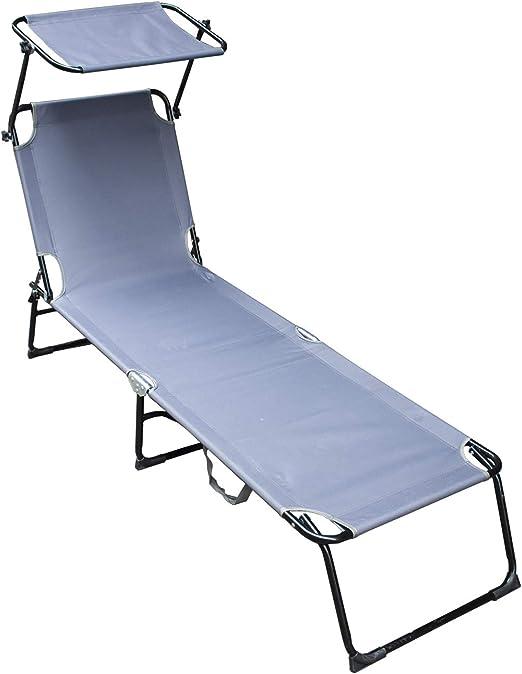 vingo Tumbona Ajustable Cama Hamaca Relax en Exterior Piscina Terraza Camping Jardin Playa 189x55x27cm Gris: Amazon.es: Jardín