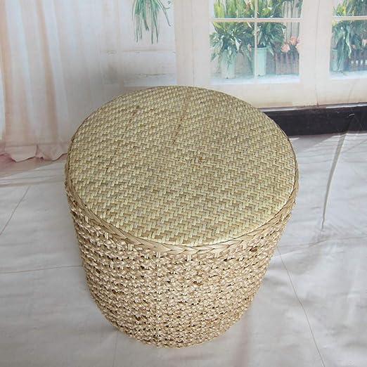 Huoduoduo Presidente, natural y ecológico hierba tejida silla de mimbre Taburete, creativo tejido a mano de paja Ronda Pier, Jardín Sofá pequeño banco de ...