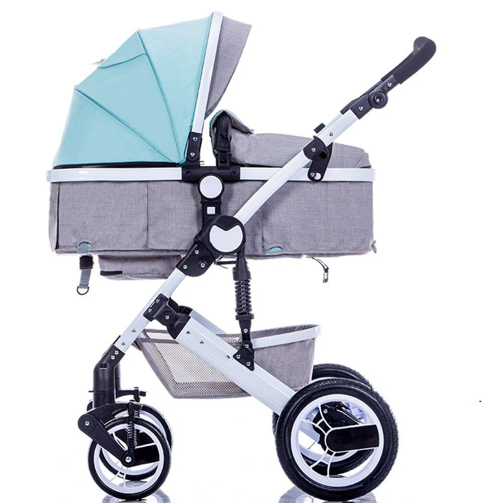 HAIZHEN マウンテンバイク ベビーシッターベビーベビーカー新生児の子供用ベビーカー0-36ヶ月古いベビーカーと耐候カバー 新生児 B07CG7L9TV 青 青
