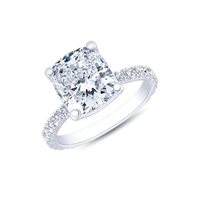 King Of Jewelry Natural Not Enhanced Cushion Cut Pave Diamond