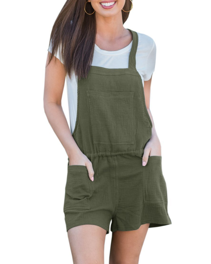 Pxmoda Women's Strap Overalls Overalls Shorts Casual Playsuits Halter Hot Pants (M, Army Green)
