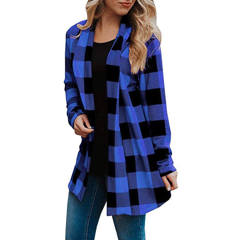 Fheaven Womens Long Cardigans Buffalo Plaid Coat Long Sleeve Elbow Patch Draped Open Front Cardiga Outwear (US:6, blue)