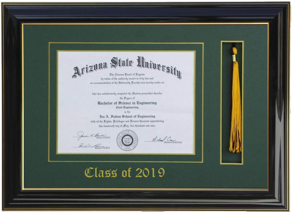 3art DIPLOMA TASSEL FRAME 8 X 6 BLACK/GREEN (CUSTOMIZABLE) 2019