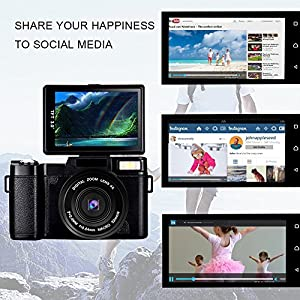 Digital Camera Camcorder Full HD Video Camera 1080p 24.0MP Vlogging Camera Flip Screen 180 Degree Rotation With Wrist Strap … from SUNLEA