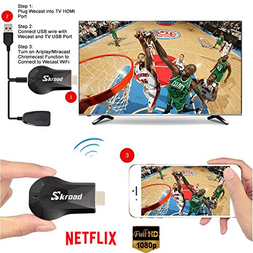 Wireless Dongle,Screen Mirror,1080P Mini Wireless Display Receiver HDMI TV Miracast DLNA Airplay for Projector/IOS/Android/Windows/Mac,Support Netflix by SKROAD (Image #2)