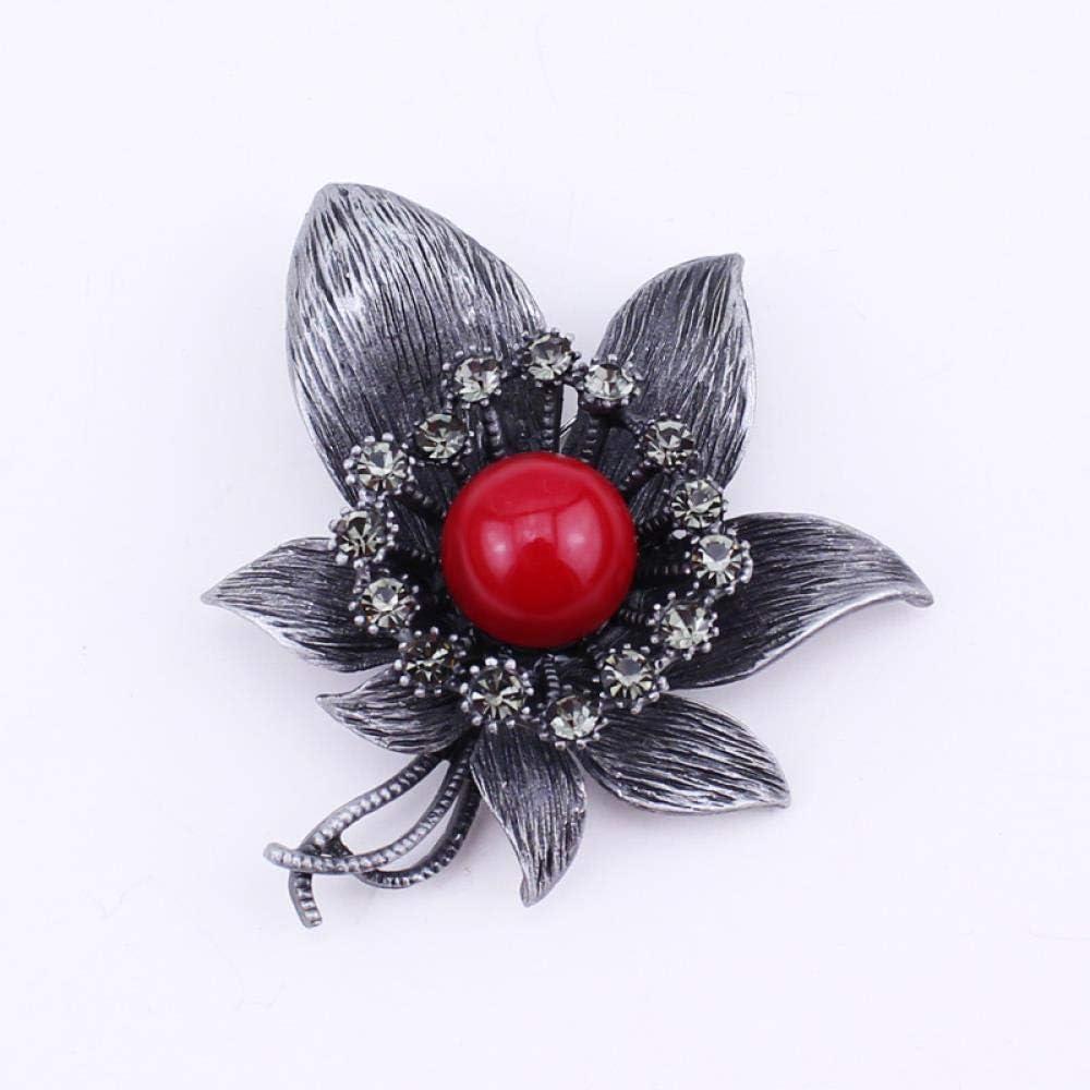 ZWLZQ Broches broche Aleación De Estaño Flor Joyas con Aguja Roja Colgante De Aguja Moda para Mujer Accesorios Negros