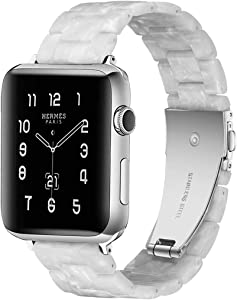 F-wheel Resin Watch Band 42mm 44mm,Compatible with Apple Watch Women Men Series 5/4/3/2/1 with Stainless Steel Buckle,for Party,Work,Date,Running, Pearl White,Compatible with iWatch Replacement Strap