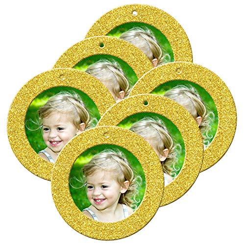 Mini Magnetic Glitter Christmas Photo Ornaments - 6-Pack, Round - Bright Yellow Gold