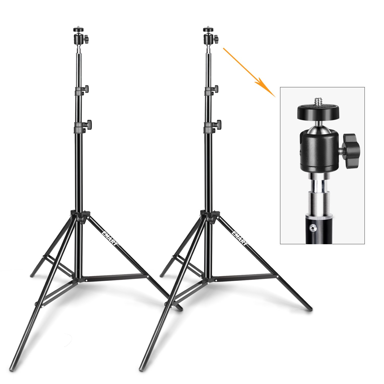 Emart 6.2ft Photography Light Stand with Hotshoe Adapter for Photo Video Studio, HTC Vive, Softbox, Reflector, etc. (2 Pack)
