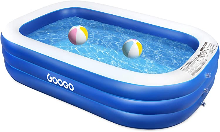 Googo Family Inflatable Swimming Pool 92 X 56 X 20 Inch Full Sized Inflatable Lounge Pool For Kiddie Kids Adults Easy Set Swimming Pool For Backyard Summer Water Party Outdoor Garden
